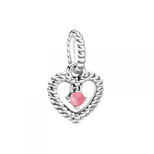Heart sterling silver dangle with petal pink crystal