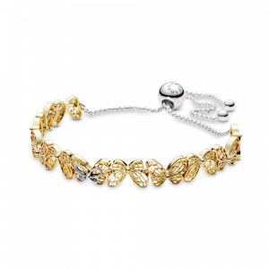 Openwork butterfly Pandora Shine and silver bracelet with sliding clasp