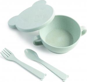 ЭКО посуда Bear (миска с крышкой, ложка и вилка) зеленый.330мл, LA2933ЗЛ