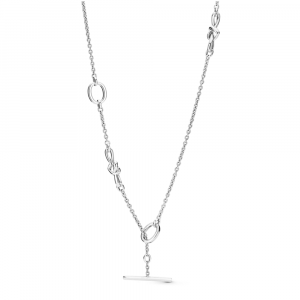 Knotted hearts silver T-bar necklace