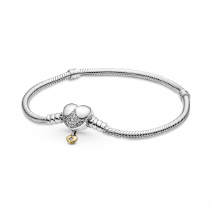 Disney Princesses snake chain sterling silver and Pandora Shine bracelet with clear cubic zirconia