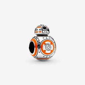 Star Wars BB8 sterling silver charm with orange and black enamel