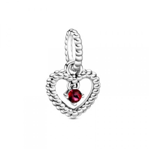 Heart sterling silver dangle with blazing red crystal