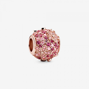 Daisy Pandora Rose charm with fancy fairy tale pink and cerise crystal