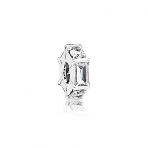 Ice cube silver spacer with clear cubic zirconia