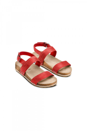 BATA SANDAL IN SUEDE MATERIAL WITH ERGONOMIC FOOTBED. RED COLOR.