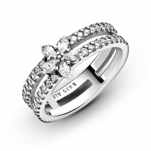 Snowflake sterling silver double ring with clear cubic zirconia