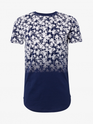 T-shirt w. fad, navy faded palm print, L