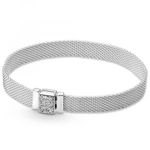 Pandora Reflexions mesh sterling silver bracelet with clear cubic zirconia