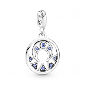 Moon and rays sterling silver medallion with stellar blue crystal
