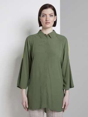 raglan shirt with turn-u, olive green, M