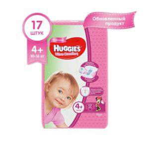 Подгузники для девочек Huggies Ultra Comfort 4+ 10-16 кг 17 шт