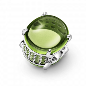 Sterling silver charm with light green and kiwi limegreen crystal