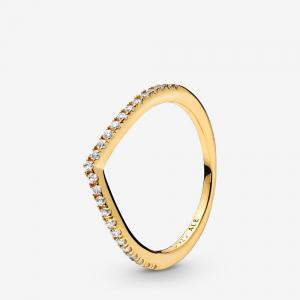 Wishbone Pandora Shine ring with clear cubic zirconia