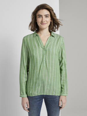 blouse with c, green stripe vertical, 36