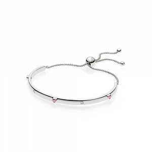 Silver bar bracelet with fancy fuchsia pink cubic zirconia and clear cubic zirconia