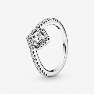 Wishbone sterling silver ring with clear cubic zirconia