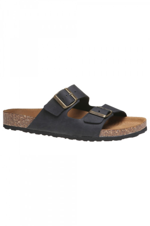 BATA. NUBUCK FUSBET SANDAL, BLACK COLOUR