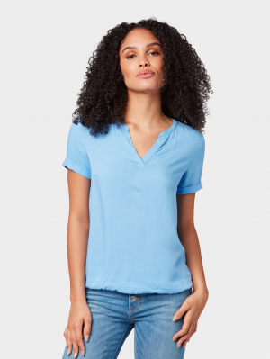 blouse with short sleeves, sea blue, 38