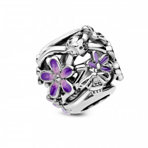 Daisy sterling silver charm with purple and shaded pink enamel