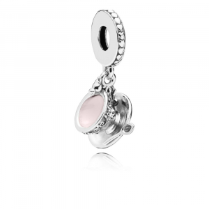 Teacup silver dangle with pink enamel