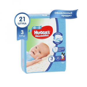 Подгузники для мальчиков Huggies Ultra Comfort 3 (5-9 кг) 21 шт