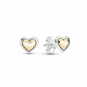 Heart sterling silver and 14k gold stud earrings