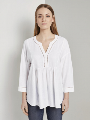blouse tunic with linen, White, 38