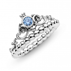 Disney Cinderella pumpkin coach sterling silver ring with fancy light blue cubic zirconia