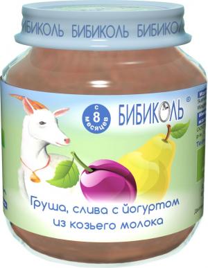 фруктово-молочное пюре Груша, слива с йогуртом из козьего молока 125 гр.