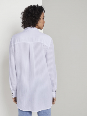 sheer structure blouse, White, 40