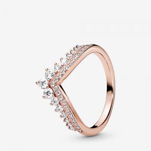 Tiara wishbone Pandora Rose ring with clear cubic zirconia