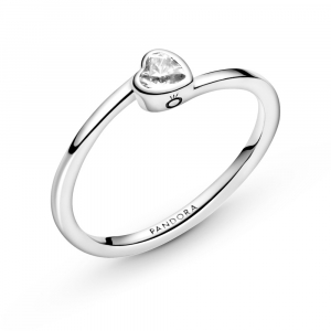 Heart sterling silver ring with clear cubic zirconia