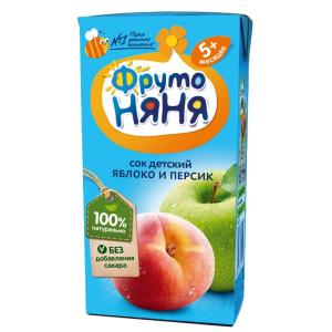 Сок Фрутоняня из яблок и персиков неосветленный 200 мл