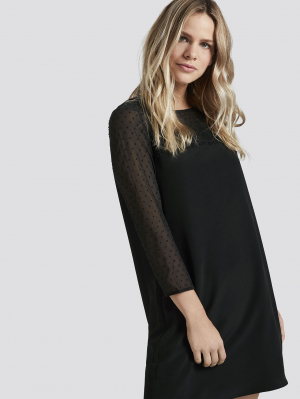 dress with fil-coupè inse, Deep Black, L