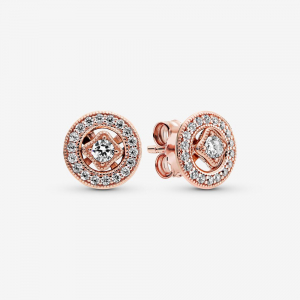 PANDORA Rose stud earrings with detachable earring jackets and clear cubic zirconia