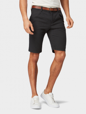 shorts structured with belt, Black, S