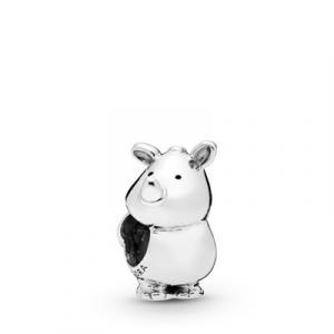 Rhinoceros silver charm