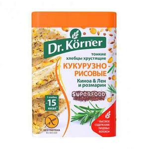 Хлебцы Кукурузно-рисовые с киноа, льном и розмарином Dr. Korner 100г