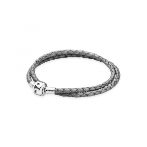 Silver leather bracelet, double, silver grey