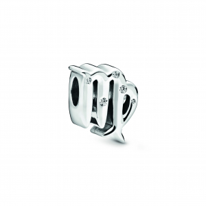 Virgo sterling silver charm with clear cubic zirconia