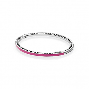 Silver bangle with orchid enamel and clear cubic zirconia