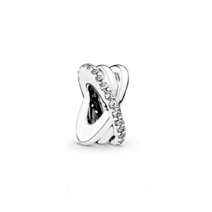Silver spacer with clear cubic zirconia