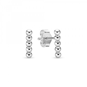 Beaded sterling silver stud earrings