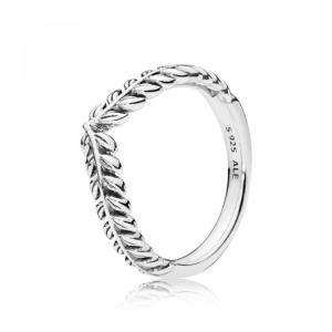 Seeds wishbone silver ring