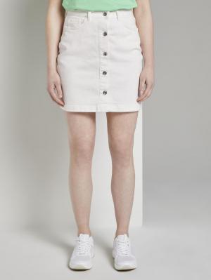 A-shape ecru mini skirt, White Denim, L