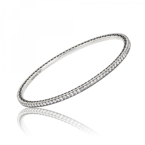 Silver bangle with cubic zirconia