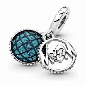 Mum sterling silver dangle with glittery blue enamel