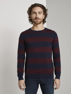 striped crewne, purple block stripe, XXL