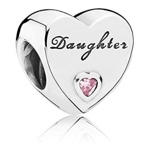 Daughter heart silver charm with pink cubic zirconia